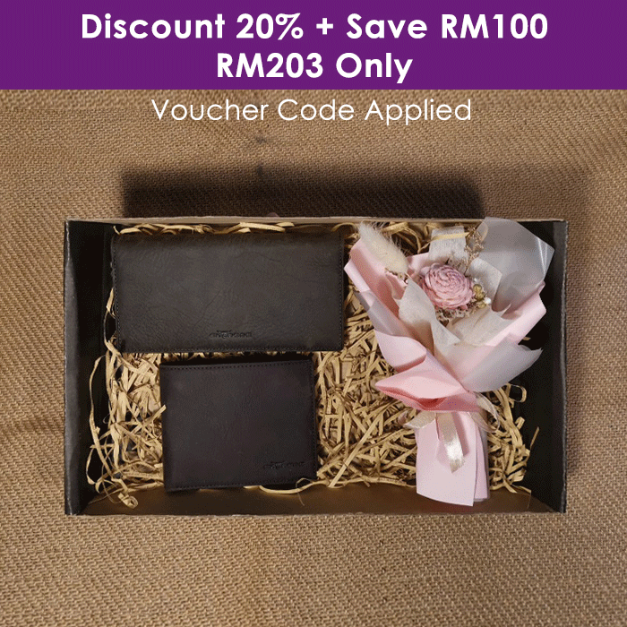 Leather Wallet With Dry Flower Set