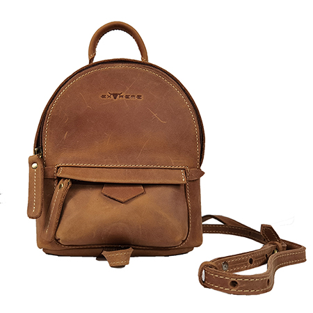 Leather small sling backpack
