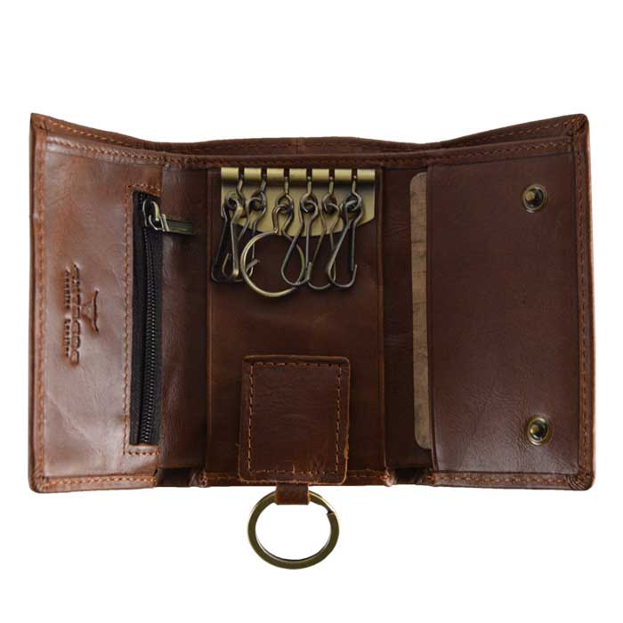 RFID Leather Trifold Key Wallet
