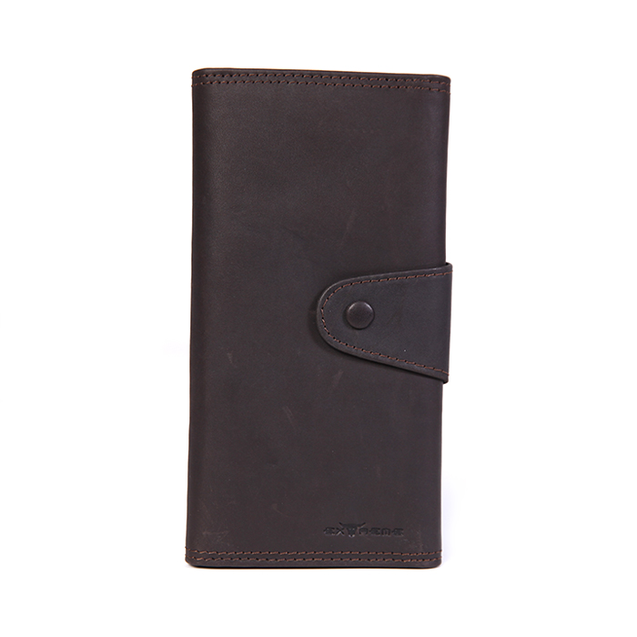 RFID Leather 3 Fold Long Wallet