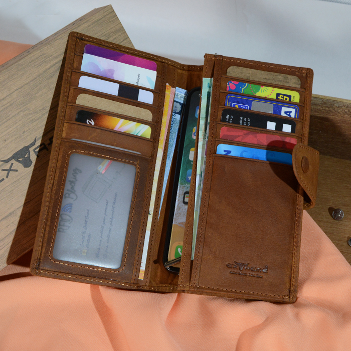 RFID Leather Long Wallet