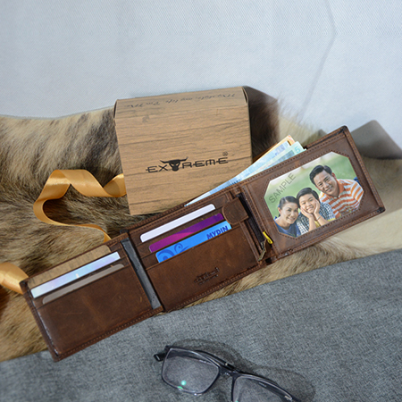 RFID Leather Large Wallet with Secret Compartment