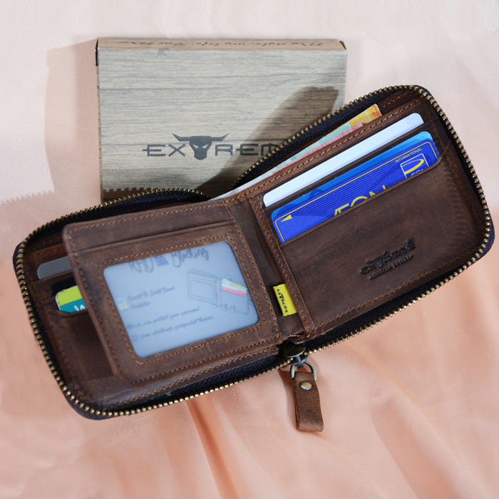 RFID Leather Fullzip Wallet